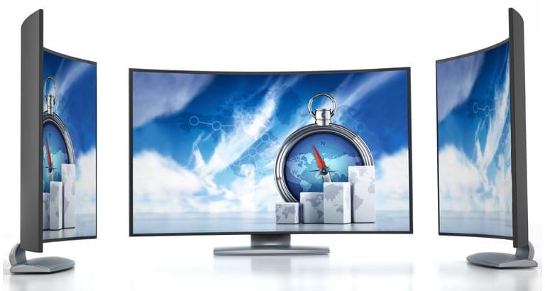 Imagen de un televisor con pantalla curba